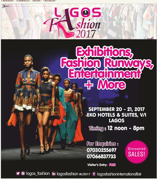 Lagos fashion fair 2017 Nigeria