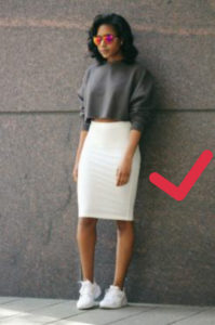 how to wear a crop top and pencil skirt