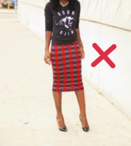 wrong ways of wearing pencil skirt