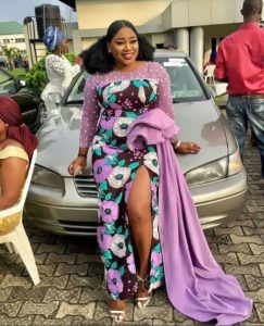 ankara long slit gown